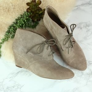 INC International Tan Suede Wedge Booties 11